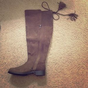 torrid Shoes - Torrid 9.5W Faux Suede Brown Boots at the Knee